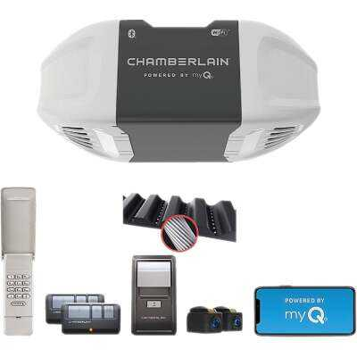 Chamberlain B2405 Smartphone-Controlled Ultra Quiet & Strong Belt Drive Garage Door Opener with MED Lifting Power