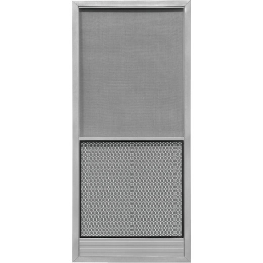 Precision Screen Capri 36 In. W x 80 In. H x 7/8 In. Thick Gray Steel Screen Door