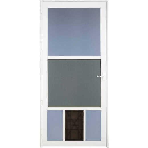 Larson Metal-Tech 32 In. W x 81 In. H x 1-1/4 In. Thick White Classic View Storm Door With Pet Door