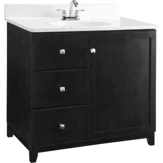 Design House Shorewood Espresso 30 In. W x 33 In. H x 21 In. D Vanity Base, 1 Door/2 Drawer