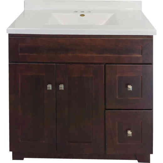 CraftMark CherryVale Shaker Cherry 36 In. W x 34 In. H x 21 In. D Vanity Base, 2 Door/2 Drawer