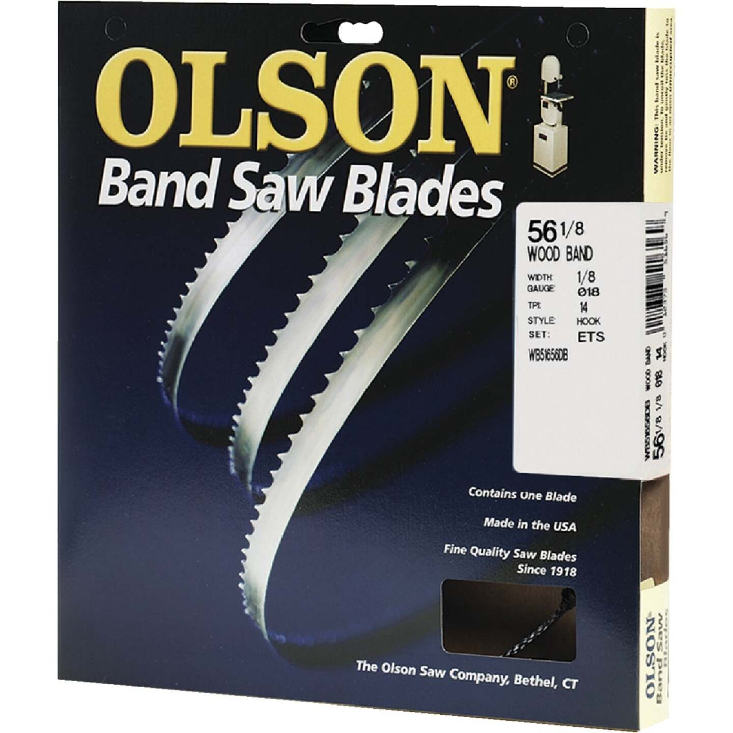 Olson 56-1/8 In. x 1/8 In. 14 TPI Hook Wood Cutting Band Saw Blade Image 1