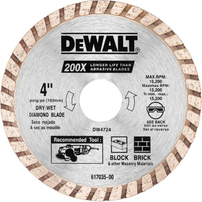 DeWalt High Performance 4 In. Turbo Rim Dry/Wet Cut Diamond Blade