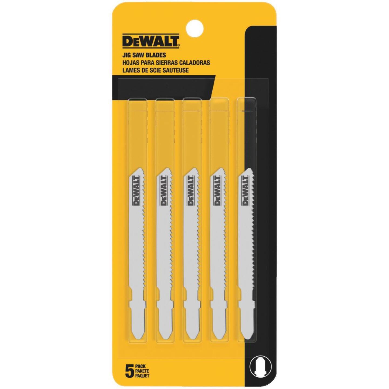 DeWalt T-Shank 3 In. x 24 TPI High Carbon Steel Jig Saw Blade, Thin Metal (5-Pack) Image 1