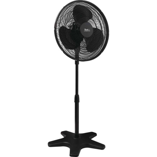 Best Comfort 16 In. 3-Speed 38 In. to 49 In. H. Black Oscillating Pedestal Fan
