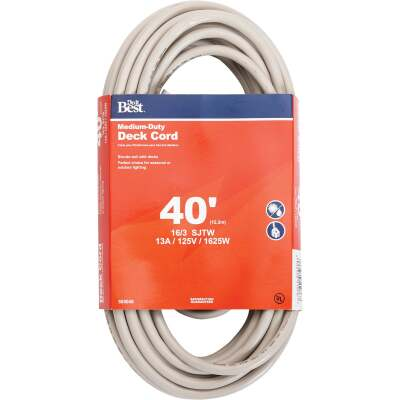 Do it Best 40 Ft. 16/3 Medium-Duty Tan Deck Extension Cord