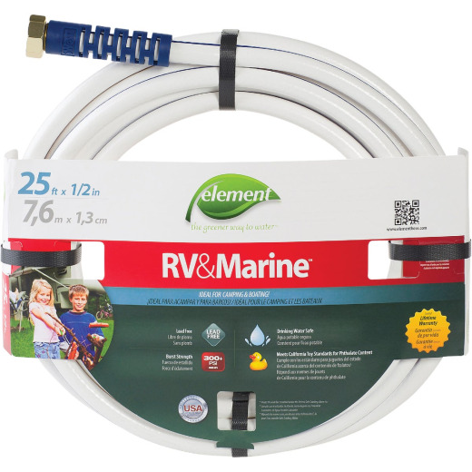 Element 1/2 In. Dia. x 25 Ft. L. Drinking Water Safe RV&Marine Hose