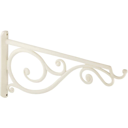 Panacea 14 In. White Scrolls & Arched Cast Aluminum Decorative Hanging Plant Bracket