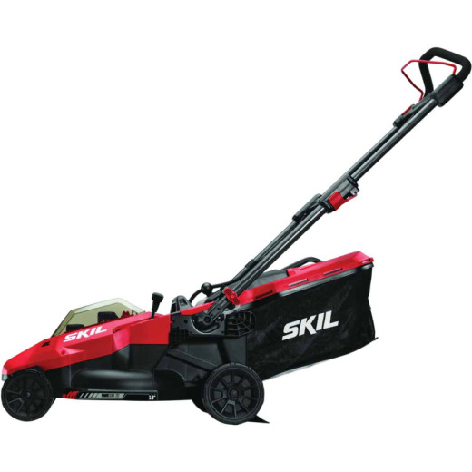 SKIL PwrCore 20V Brushless Push Lawn Mower with Two 4.0 Ah Batteries and Dual Port Charger