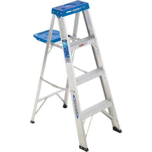 Werner 4 Ft. Aluminum Step Ladder with 250 Lb. Load Capacity Type I Ladder Rating