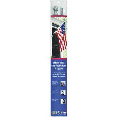 Annin 6 Ft. x 2 In. Aluminum Spinning Flag Pole with Bracket